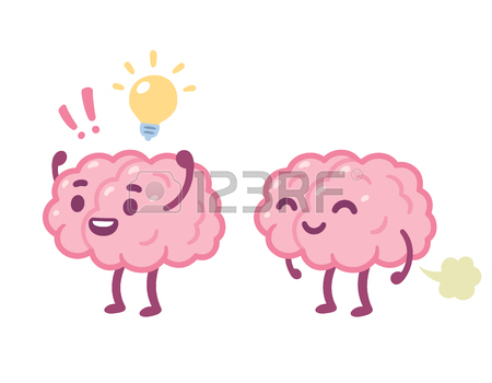 450x350 Brain Fart, Stupid Idea Cartoon Drawing. Funny Human Brain