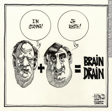 385x382 M2003.109.10 Brain Drain Drawing, Cartoon Aislin (Alias