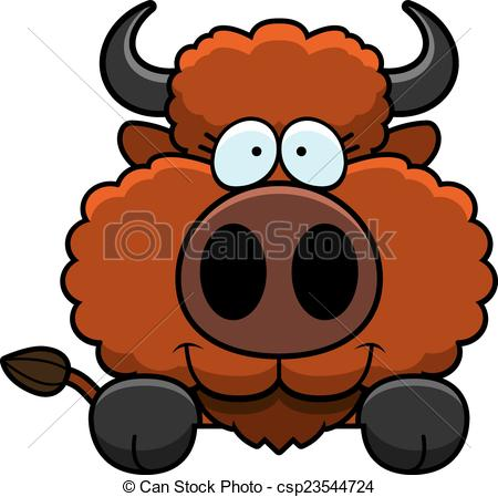 450x449 Cartoon Buffalo Peeking. A Cartoon Illustration Of A Buffalo