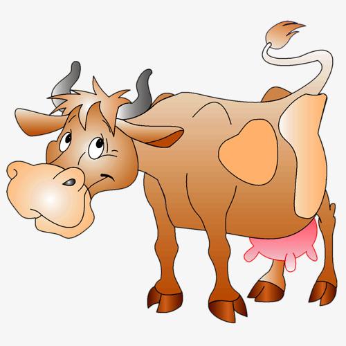 500x500 Cute Cartoon Drawing Of A Cow, Buffalo, Cartoon, Painting Png