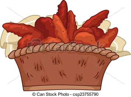 450x332 Illustration Featuring A Basket Of Buffalo Wings Eps Vectors
