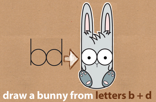 500x327 How To Draw A Cute Cartoon Bunny Using Lowercase Letters B And D