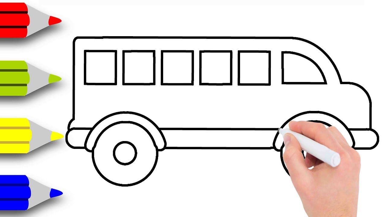 1280x720 Cartoon Bus Drawing Kids Drawing Videos How To Draw A School Bus