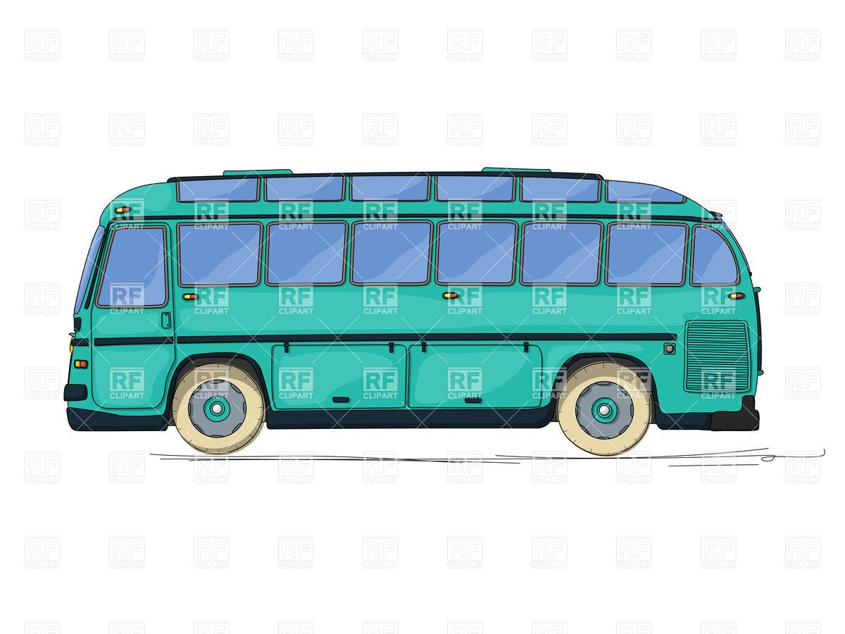 1200x900 Vintage Style City Bus, Cartoon Drawing Royalty Free Vector Clip