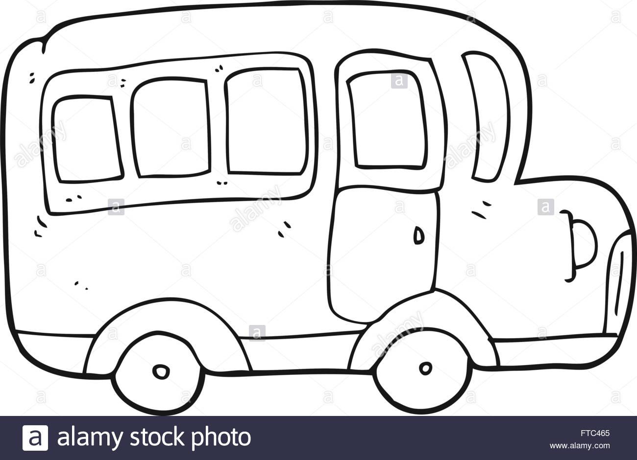 1300x940 Freehand Drawn Black And White Cartoon Yellow School Bus Stock