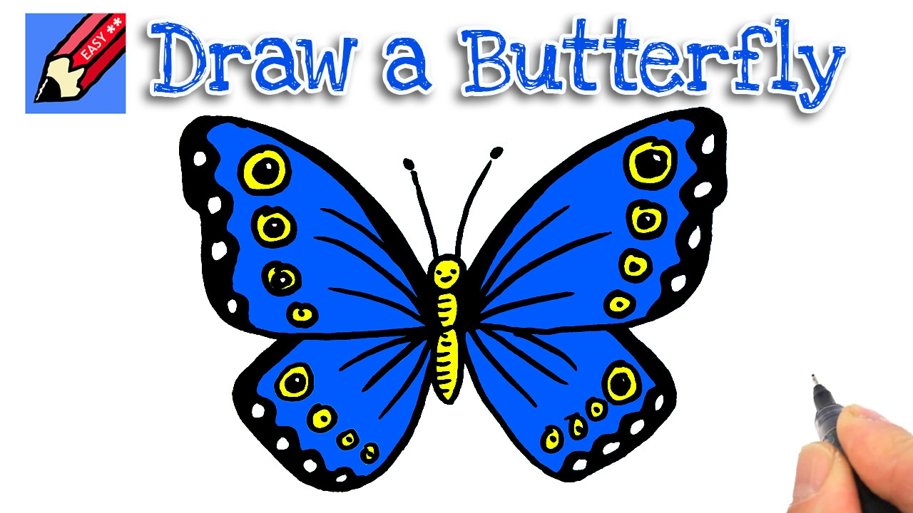 1280x720 Butterfly Drawings Easy How To Draw A Cartoon Butterfly