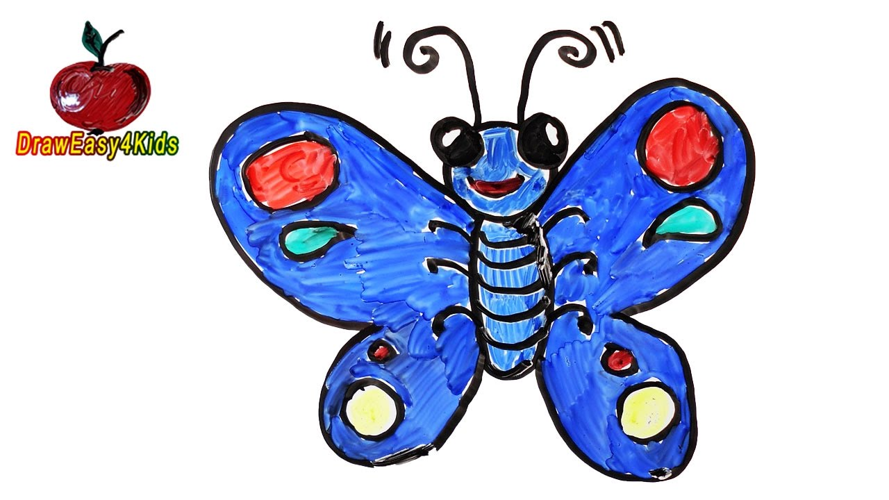 1280x720 How To Draw A Cartoon Butterfly For Kids Drawing On A Whiteboard