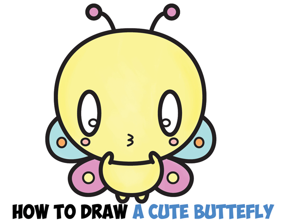 600x455 How To Draw Cute Kawaii Cartoon Butterfly Easy Step By Step