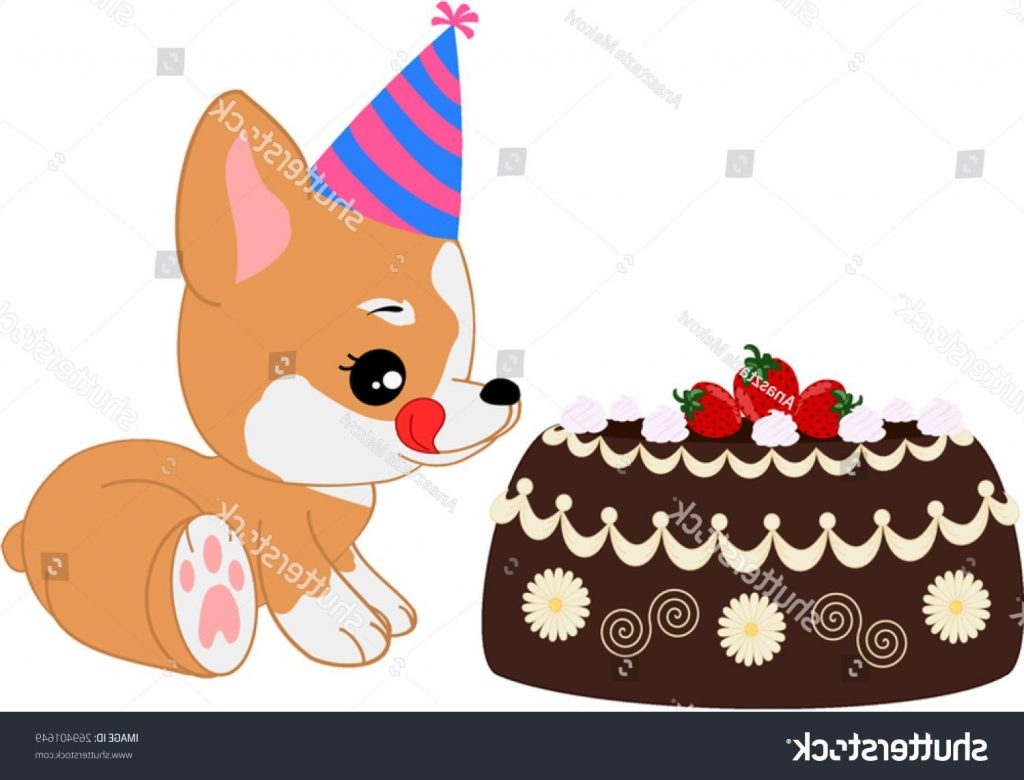 1024x780 Best Stock Vector Cartoon Corgi Girl Puppy With Birthday Cake Drawing