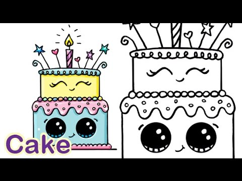 480x360 How To Draw A Cartoon Birthday Celebration Cake Cute And Easy