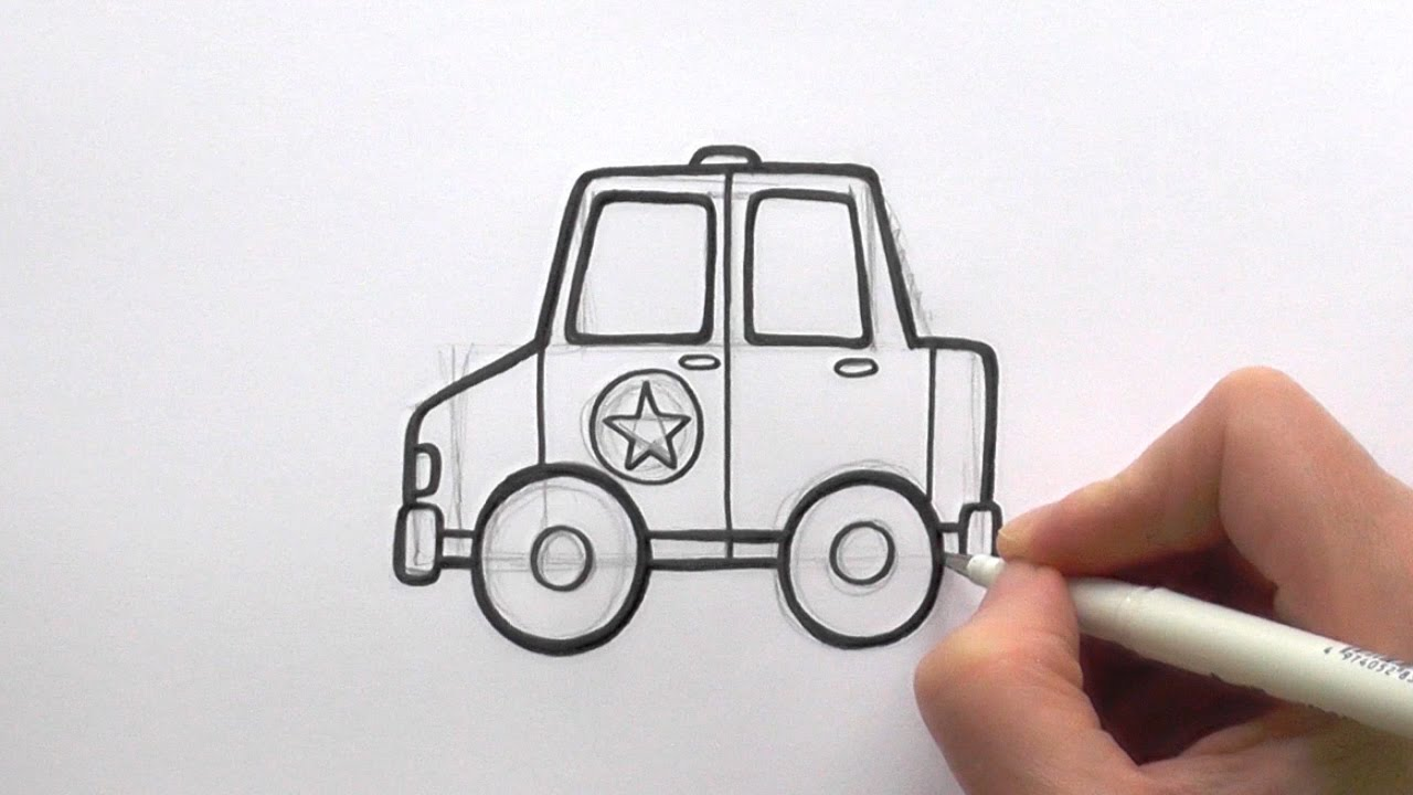 1280x720 How To Draw A Cartoon Police Car