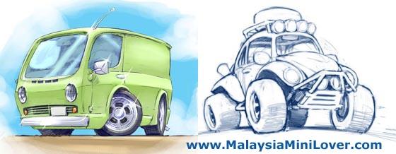 560x218 Cartoon Car Sketches Malaysiaminilover