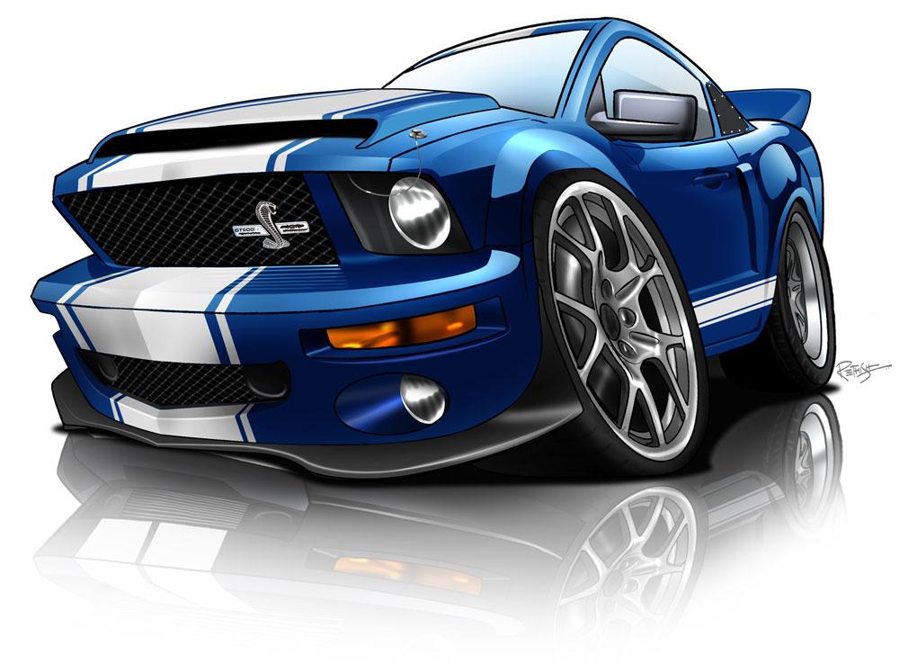 1000x738 Shelby Gt500 Super Snake Caricature Cartoon Cars