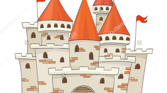 570x320 Cartoon Castle Drawing Cute Cartoon Castle Flags Vector Drawing