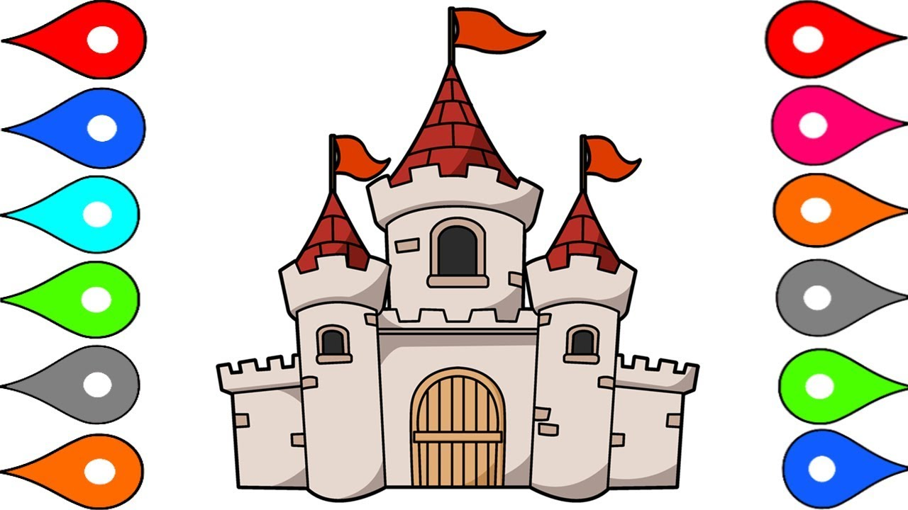 1280x720 How To Draw And Color Castle L Kids Drawing Simple Castle Coloring