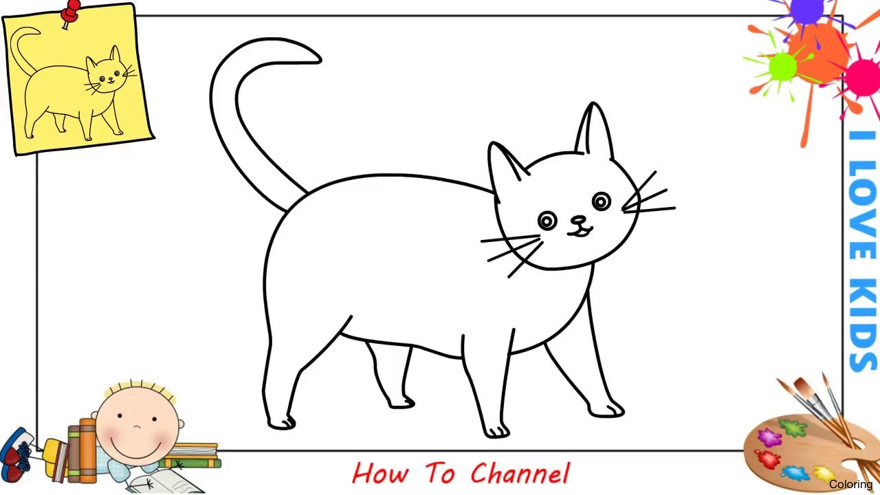 1280x720 Black Cat Drawing Art How To Draw A Step By For Beginners Coloring