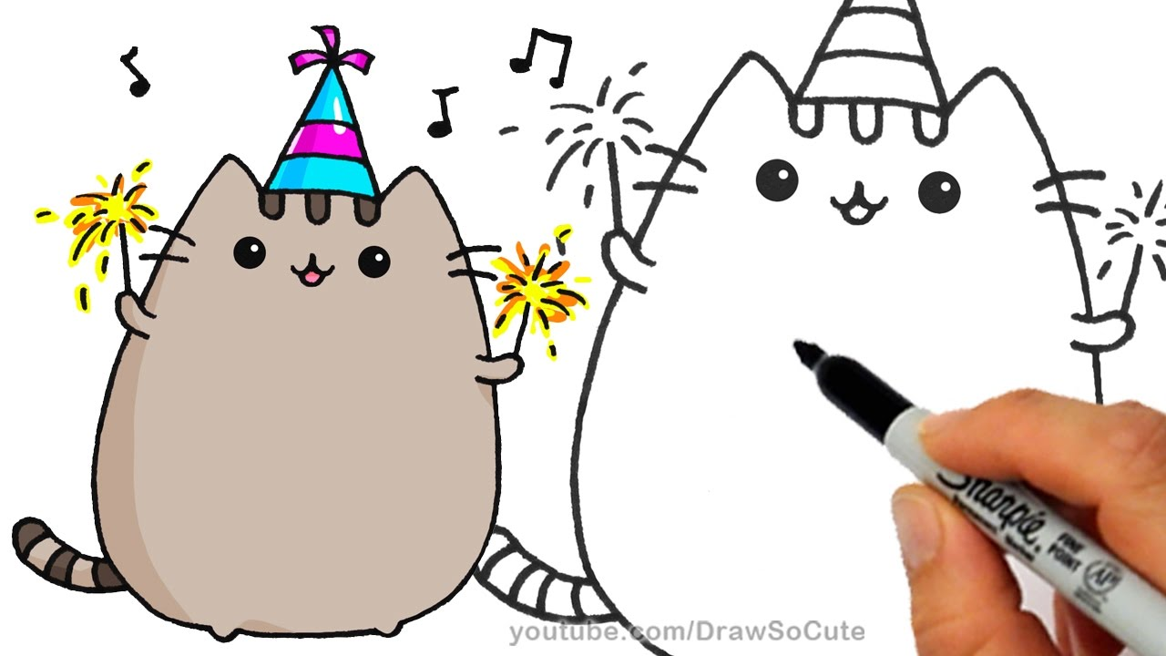 1280x720 How To Draw Pusheen Cat For New Years Celebration Step By Step