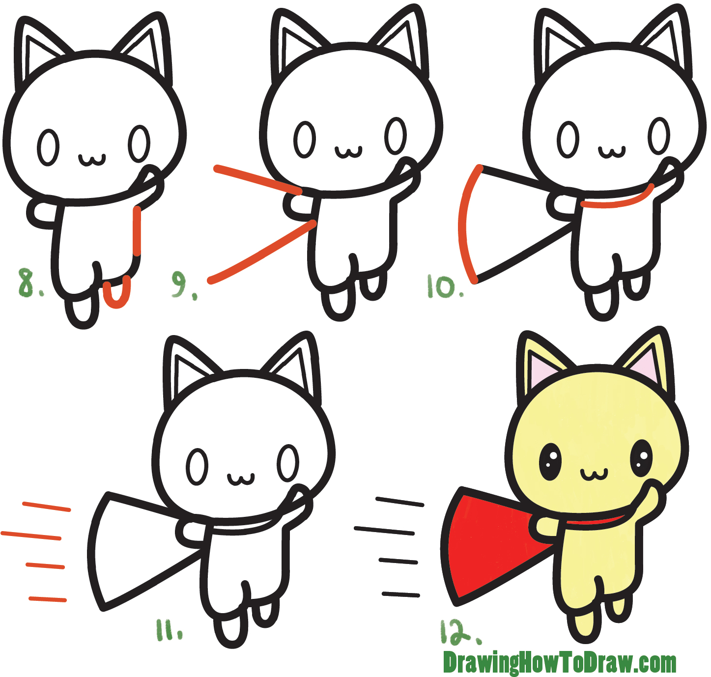 1447x1378 How To Draw A Cute Cat Super Hero (Kawaii) With Easy Step By Step