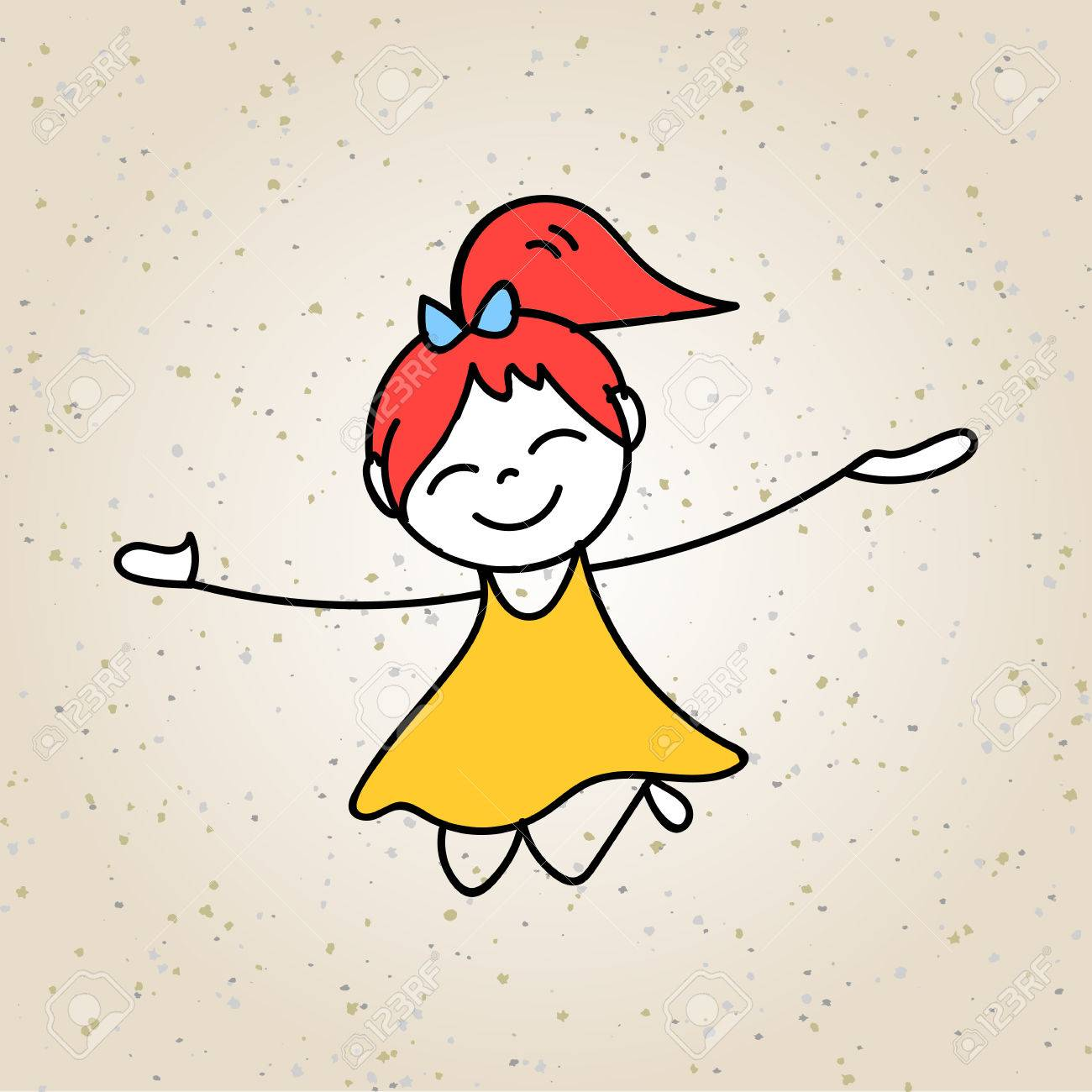 1300x1300 Hand Drawing Cartoon Character Abstract Concept Happy Kids Royalty