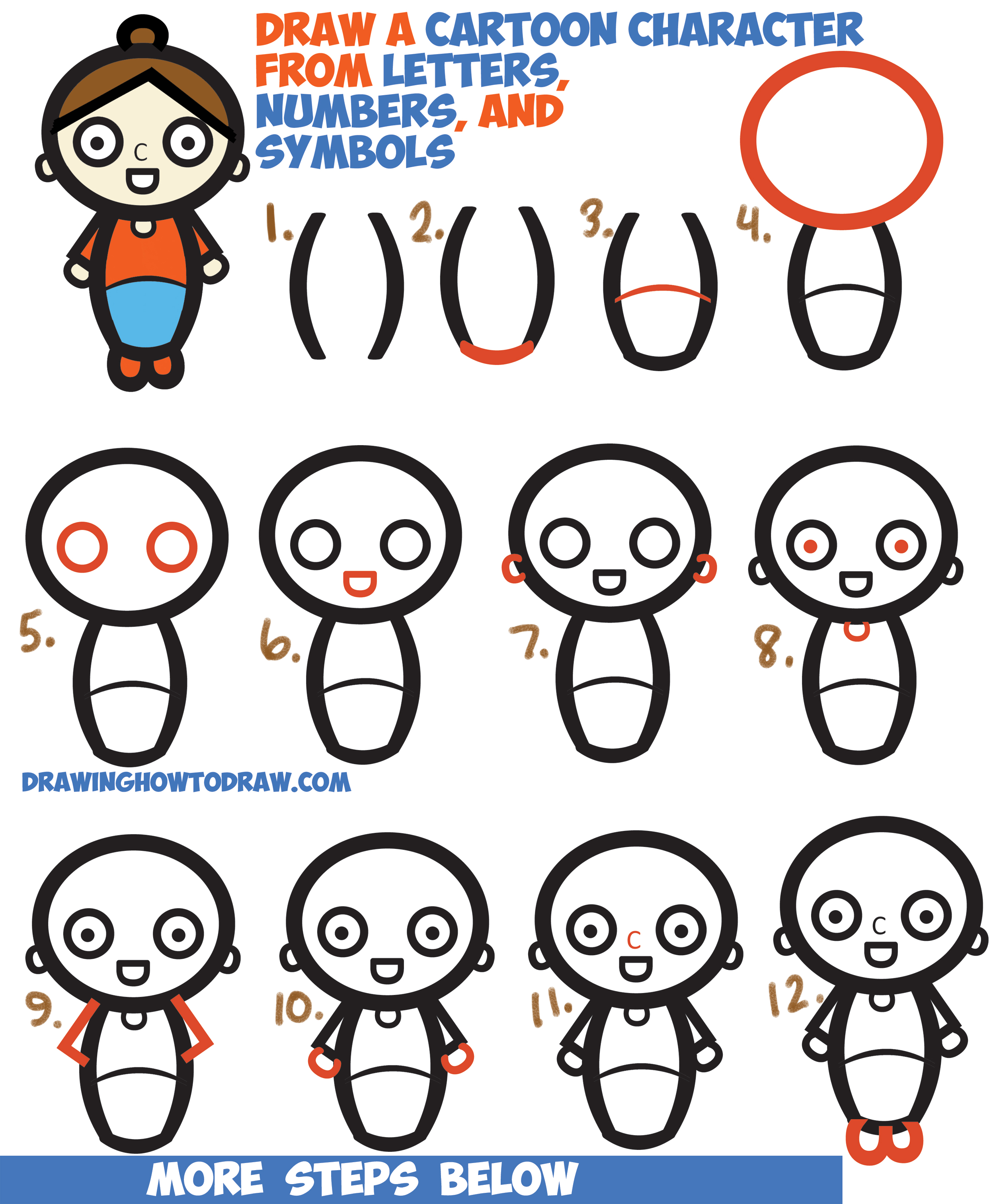 2500x3024 How To Draw A Cartoon Woman Character From Letters Numbers