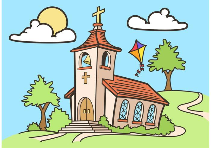 700x490 Country Church Vector Drawing Free