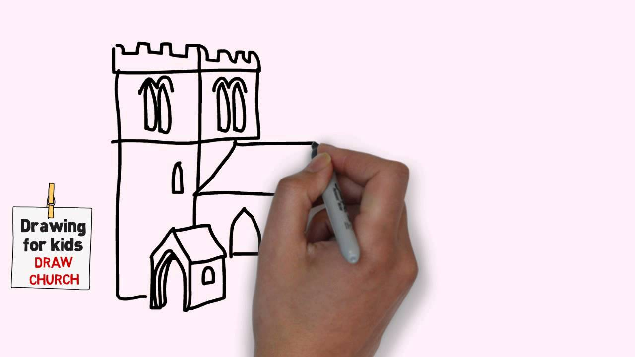 1280x720 How To Draw A Cartoon Church Step By Step Easy For Kids