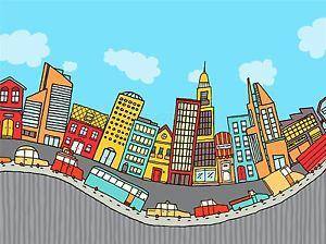 300x224 Art Print Poster Painting Drawing Bendy Cartoon City Street