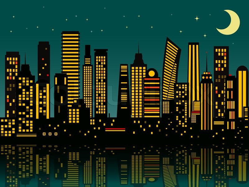 800x601 Cartoon Night City. Vector Eps 10 Stock Vector Colourbox