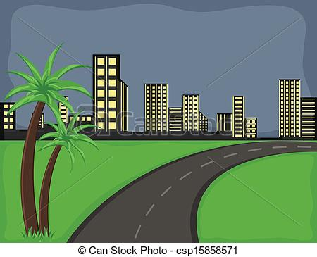 450x365 City Road Vector Background. Drawing Art Of Road