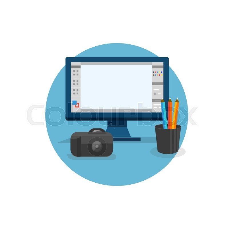 800x800 Design Graphic Work Space Flat. Graphic Design Workplace