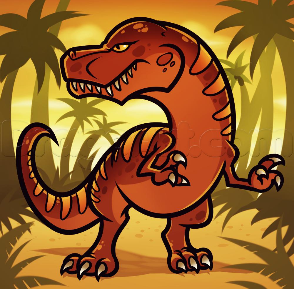 1000x982 How To Draw A Cartoon Dinosaur, Step By Step, Cartoon Animals