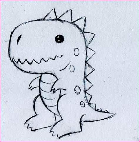 476x482 Simple Black And White Line Drawing Cartoon Dinosaur. Cartoon