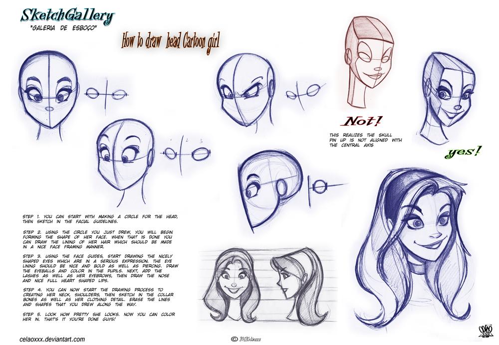 1000x692 How To Draw Head Cartoon Girl By Celaoxxx