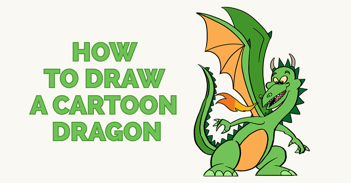 1200x628 How To Draw A Cartoon Dragon Easy Drawing Guides