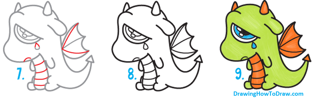 1100x350 How To Draw A Cute Cartoon Dragon Crying Easy Step By Step Drawing