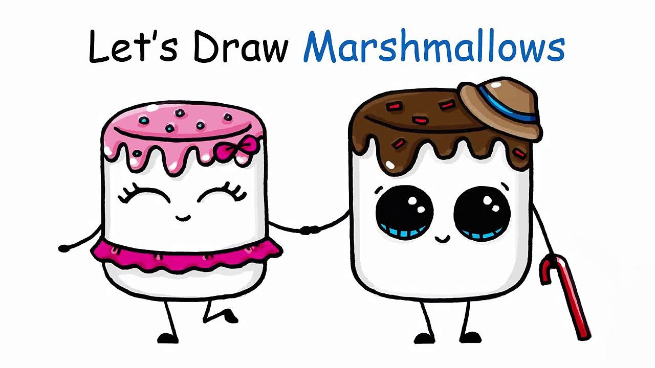 1280x720 How To Draw Cartoon Marshmallow Cute And Easy