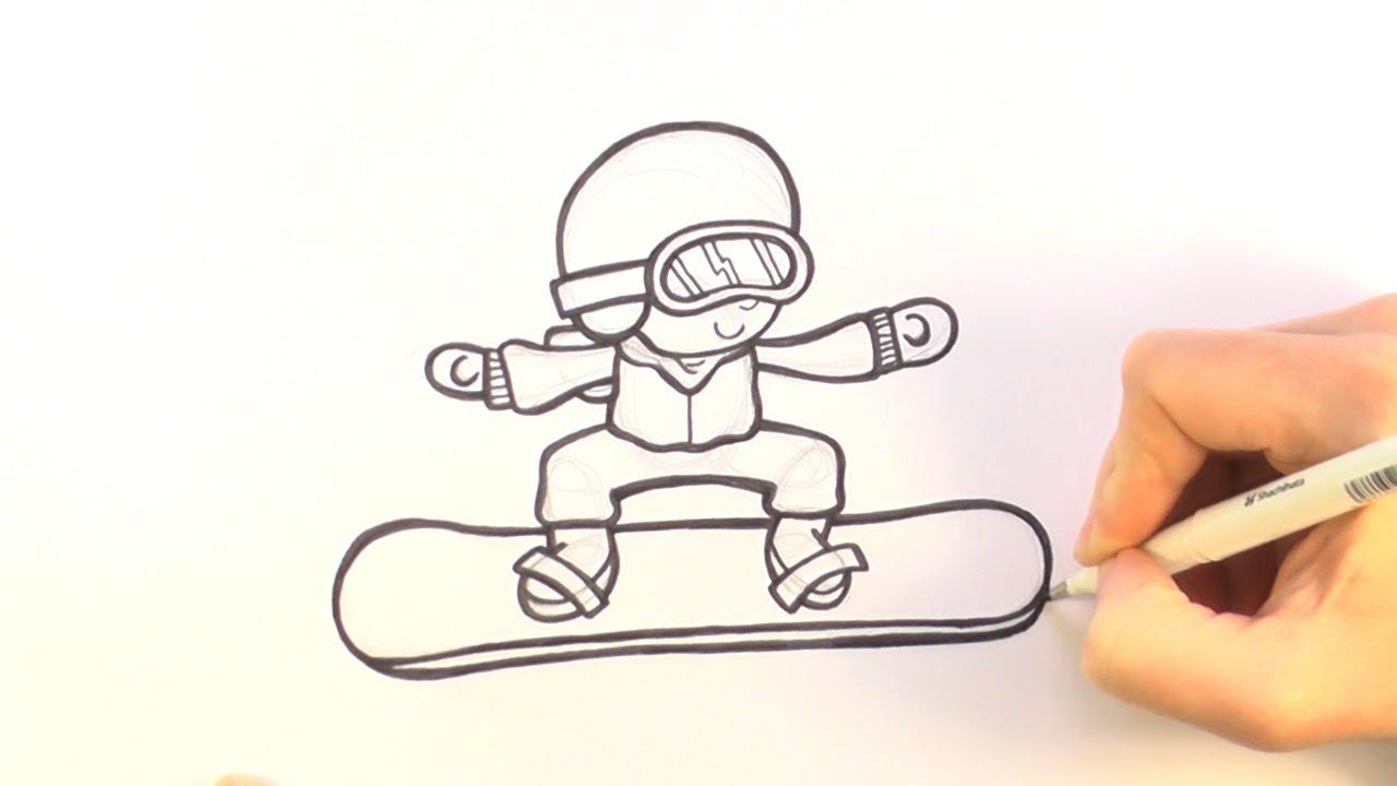 1280x720 How To Draw A Cartoon Snowboarder