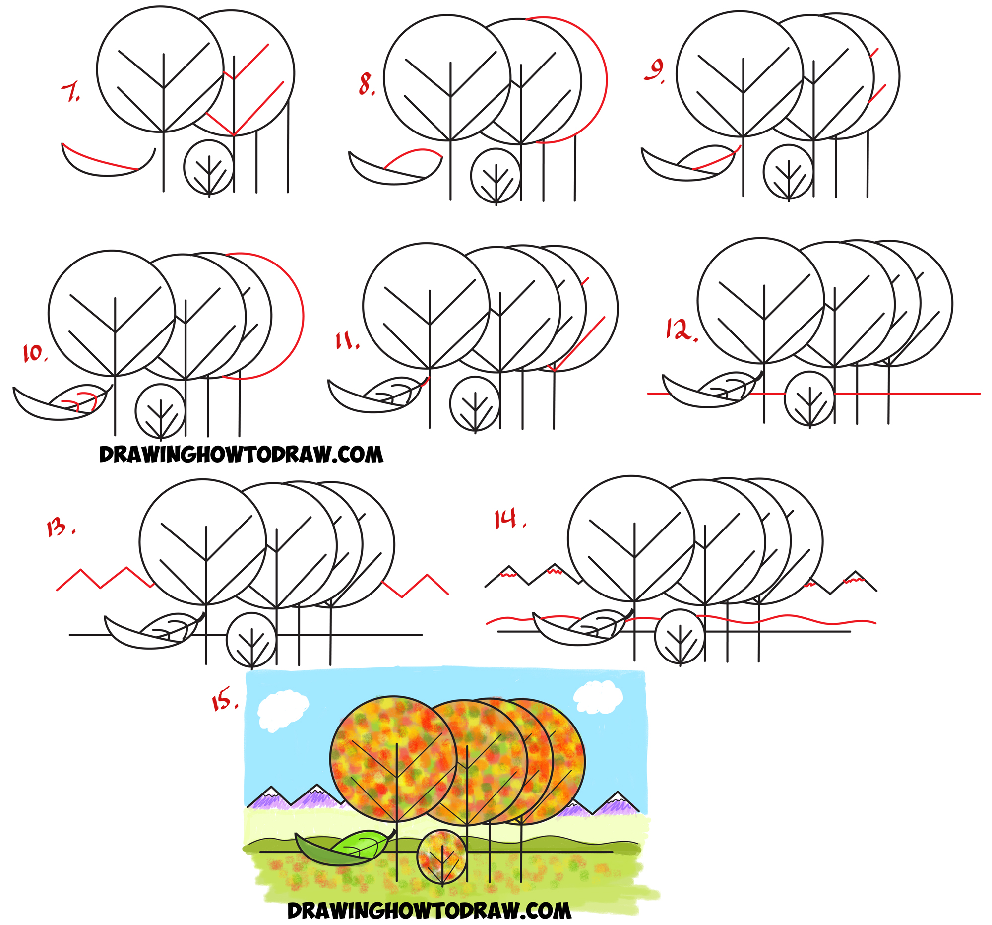 2000x1864 How To Draw Fall Autumn Scene From The Word Fall