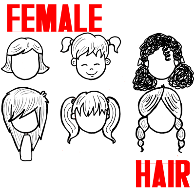 400x400 How To Draw Girls Hair Styles For Cartoon Characters Drawing