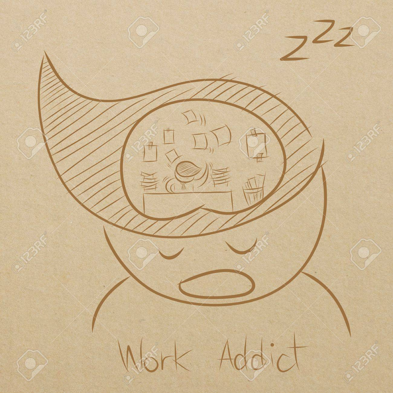 1300x1300 Cartoon Drawing Of A Man Dreaming About Working While Sleeping