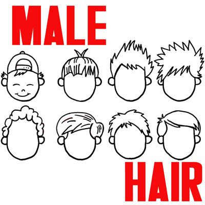 400x400 How To Draw Boys And Mens Hair Styles For Cartoon Characters