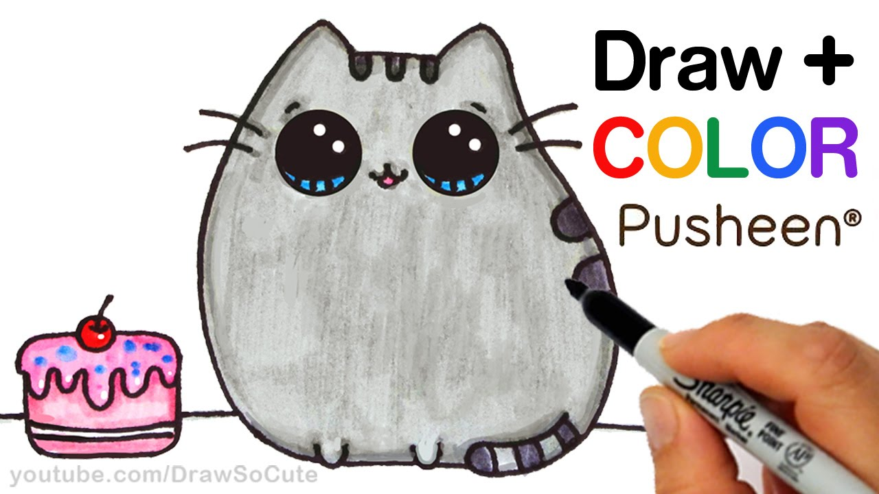 1280x720 How To Draw + Color Pusheen Cat Step By Step Easy Cute Cartoon Cat