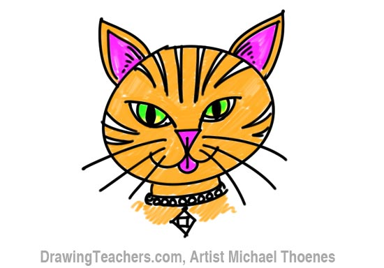 550x384 How To Draw A Cartoon Cat Face