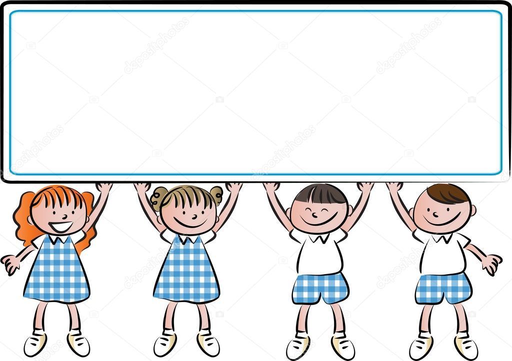 1024x723 Cartoon Drawing Kids With Blank Border Stock Photo Wenpei