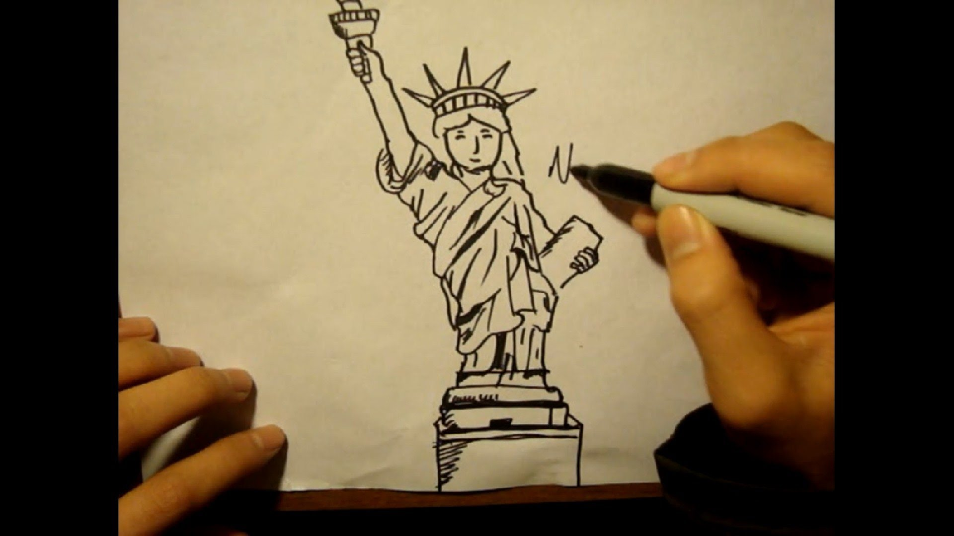 1920x1080 How To Draw Statue Of Libertyfacetorchcartoon Style