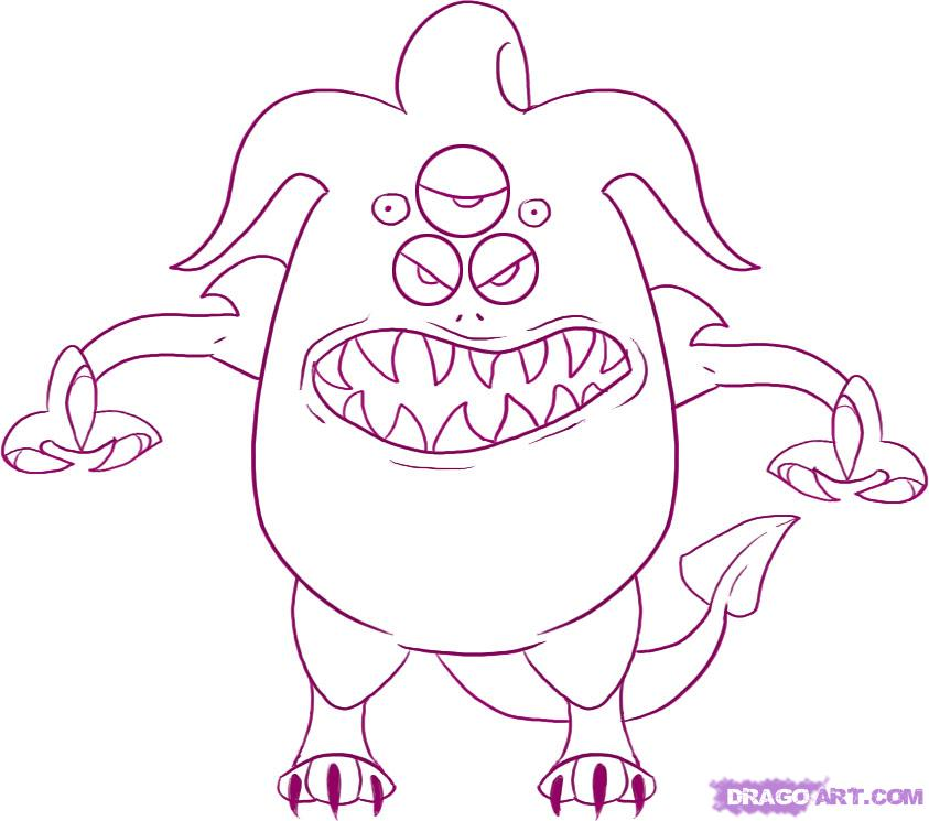 843x745 How To Draw A Kawaii Monster 4monster Drawings For Kids