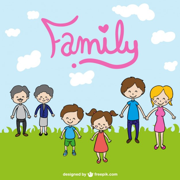 626x626 Family Cute Cartoon Drawing Vector Free Download