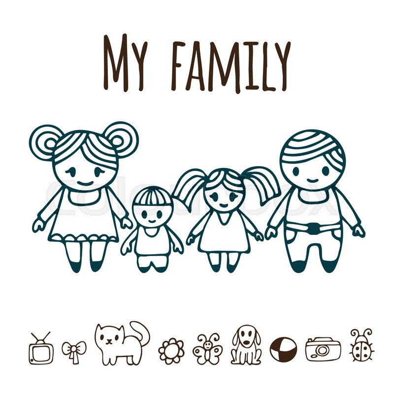 800x800 Happy Family With Two Children In Cartoon Style. Hand Drawn Doodle