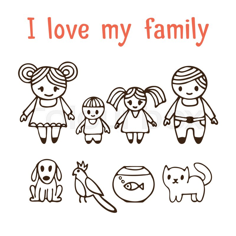 800x800 I Love My Family. Happy Family With Two Children In Cartoon Style