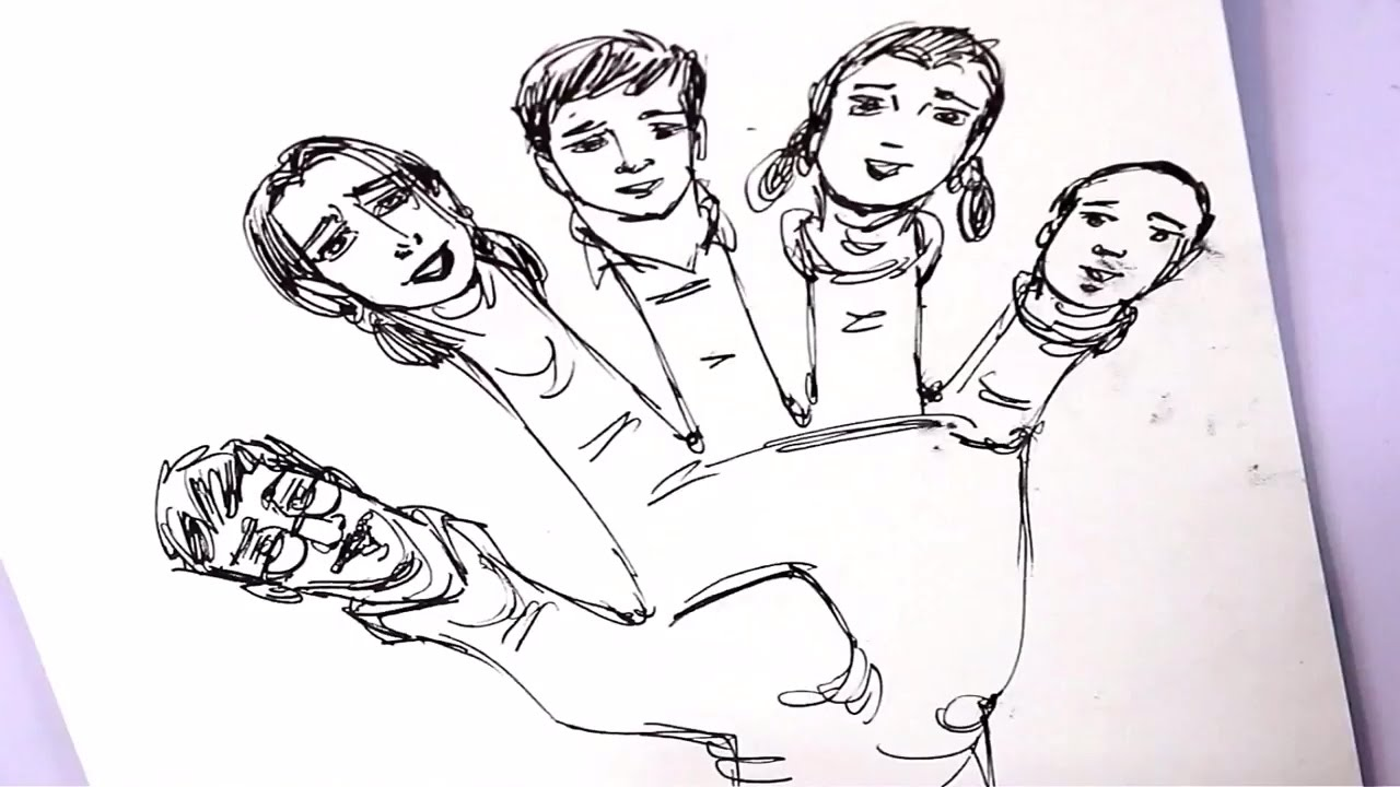 1280x720 Learn How To Draw Finger Family Drawing With Fountain Pen Kids